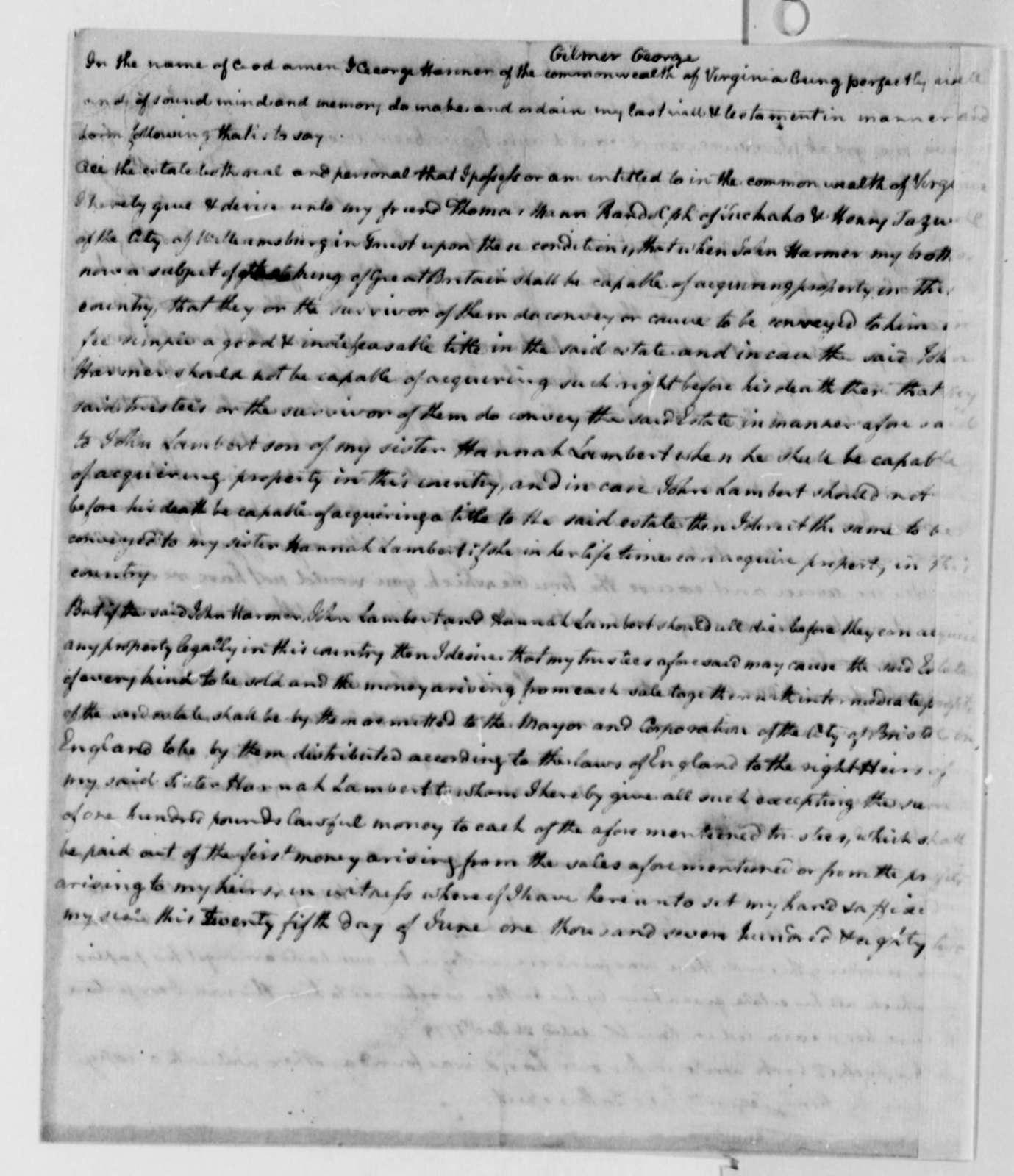George Gilmer to Thomas Jefferson, January 9, 1787