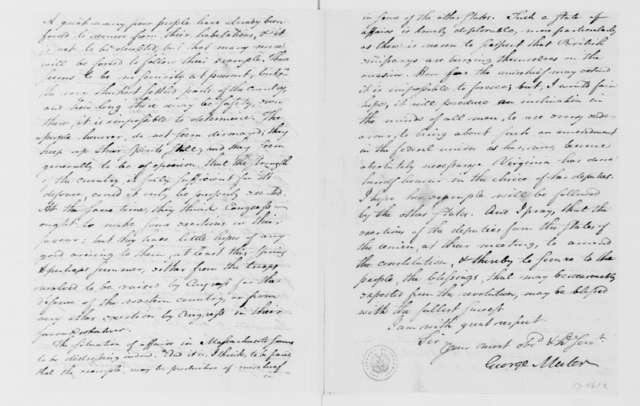George Muter to James Madison, February 20, 1787.