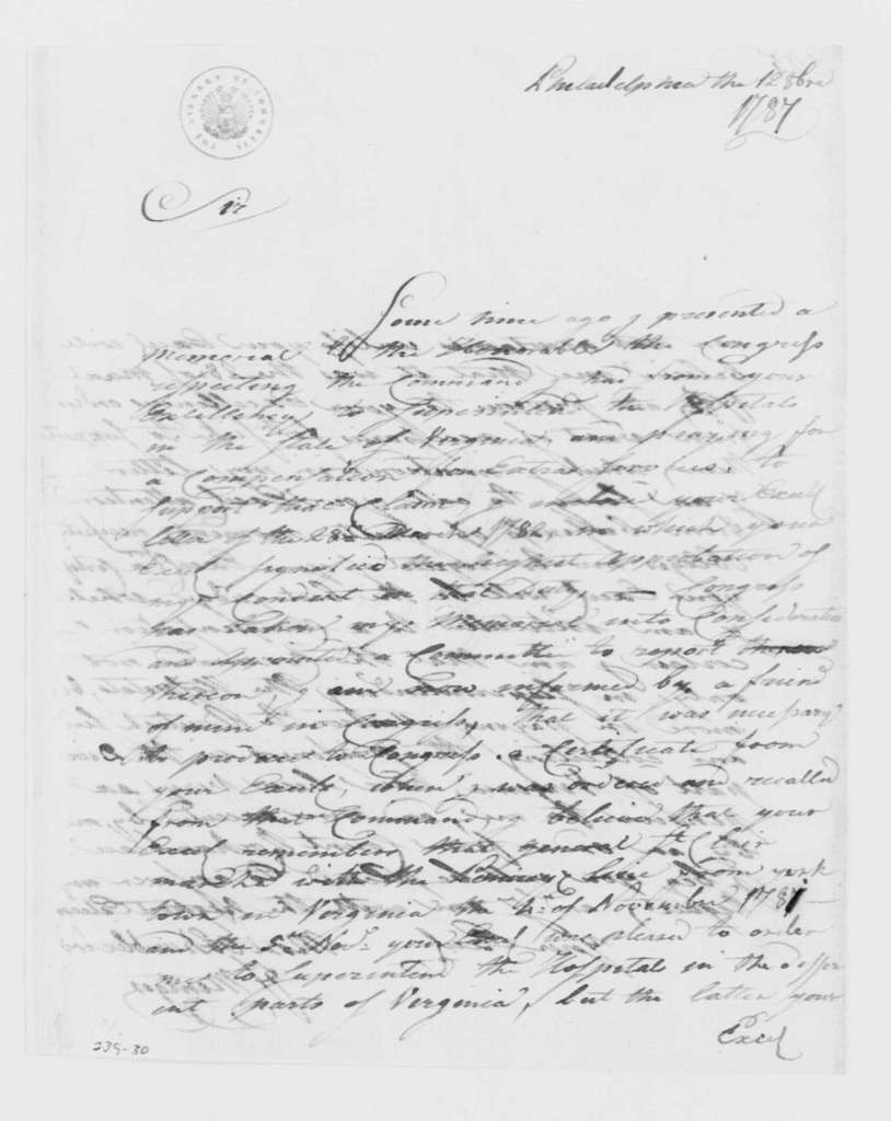 George Washington Papers, Series 4, General Correspondence: Francis Mentges to George Washington, October 12, 1787