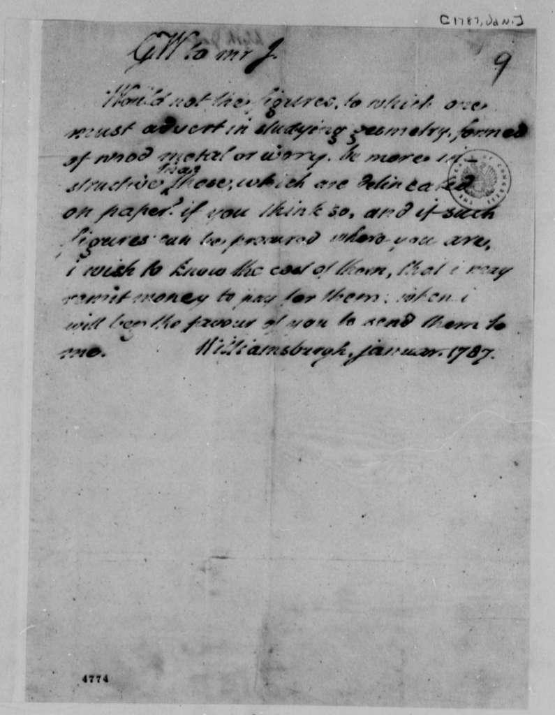 George Wythe to Thomas Jefferson, January 1787