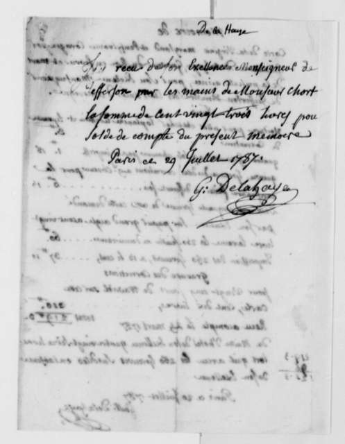 Guillaume Delahaye to Thomas Jefferson, July 20, 1787, Bill for Printing Map of Virginia, Maryland, and Pennsylvania; in French