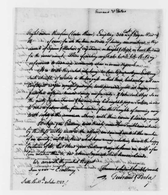 Guiraud & Portas, October 11, 1787, Appeal for Help in Regaining The David (ship)