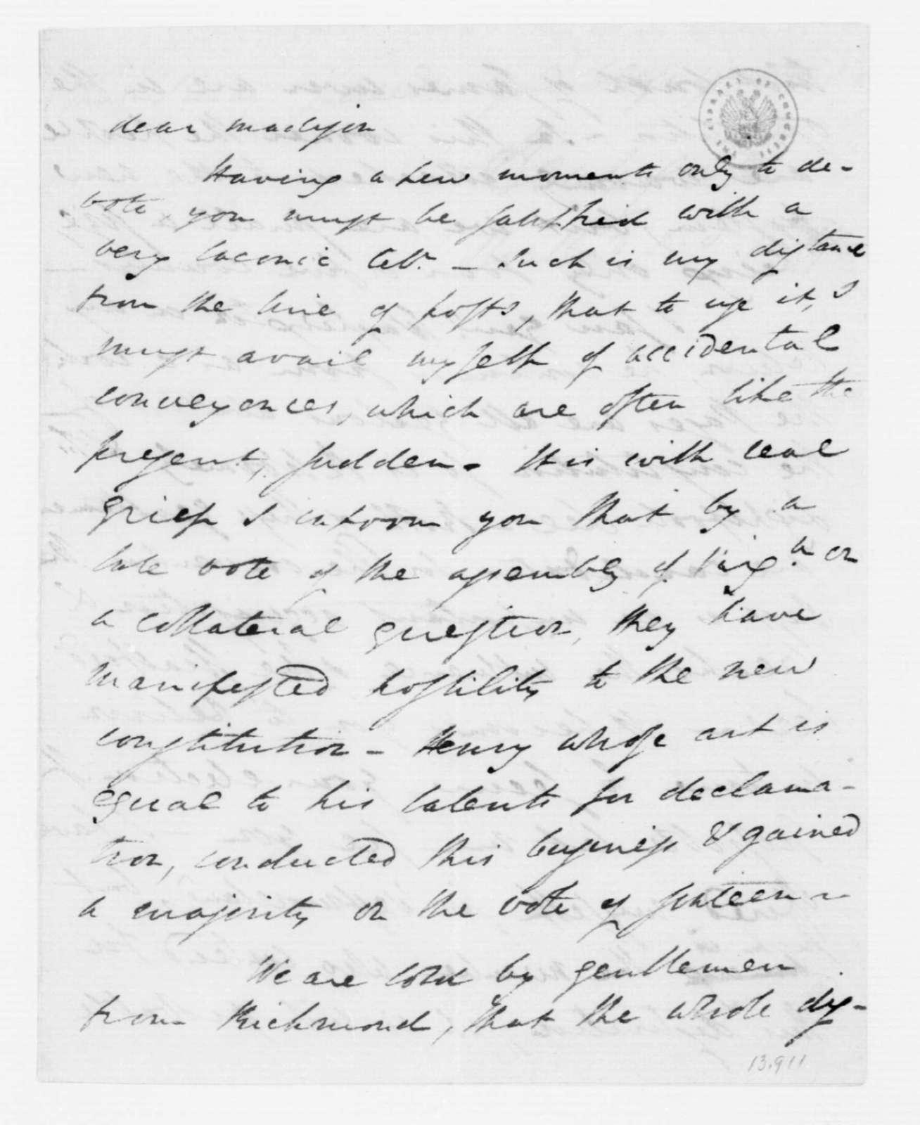 Henry Lee to James Madison, December 7, 1787.