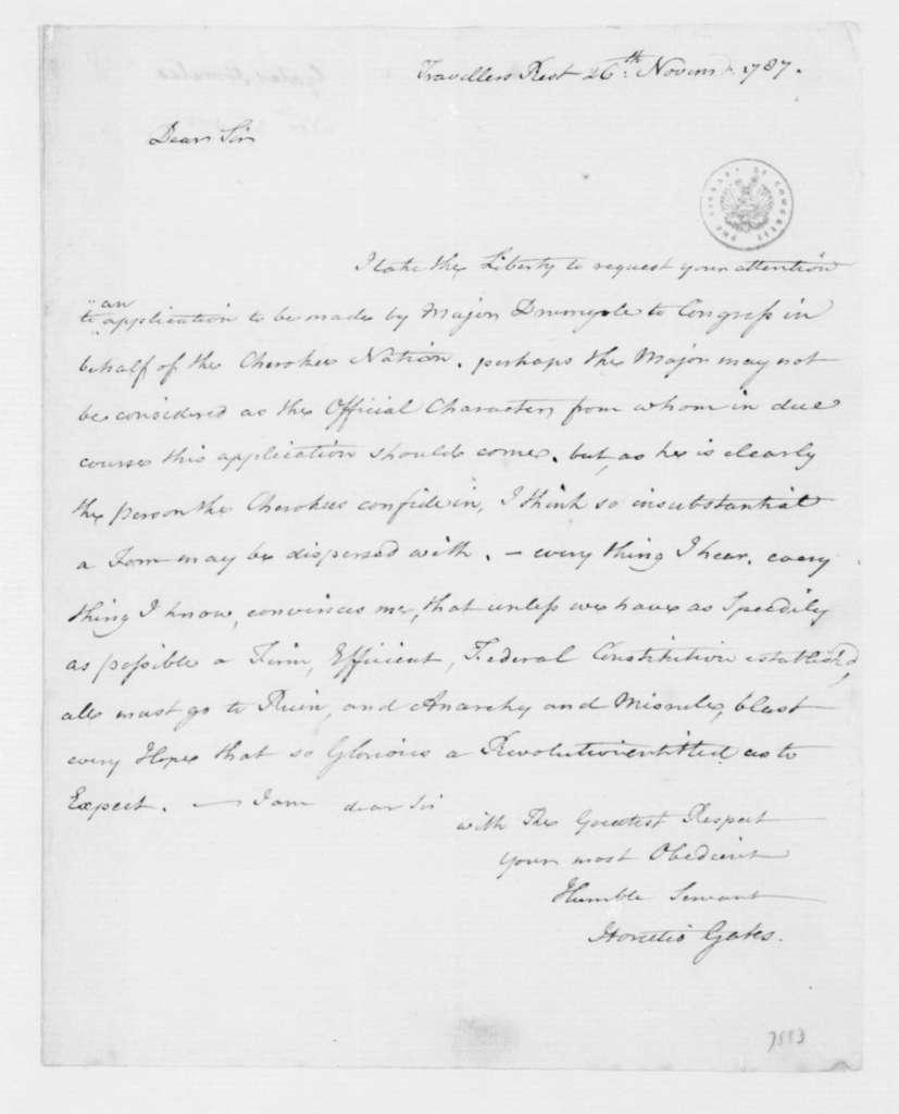 Horatio Gates to James Madison, November 26, 1787.