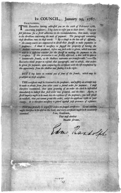 In Council. January 29, 1787. Gentlemen, The executive having addressed you on the 20th of February 1786 concerning pensioners; I beg leave to refer you to their letter. They are still solicitous for a strict adherence to the recommendations, th