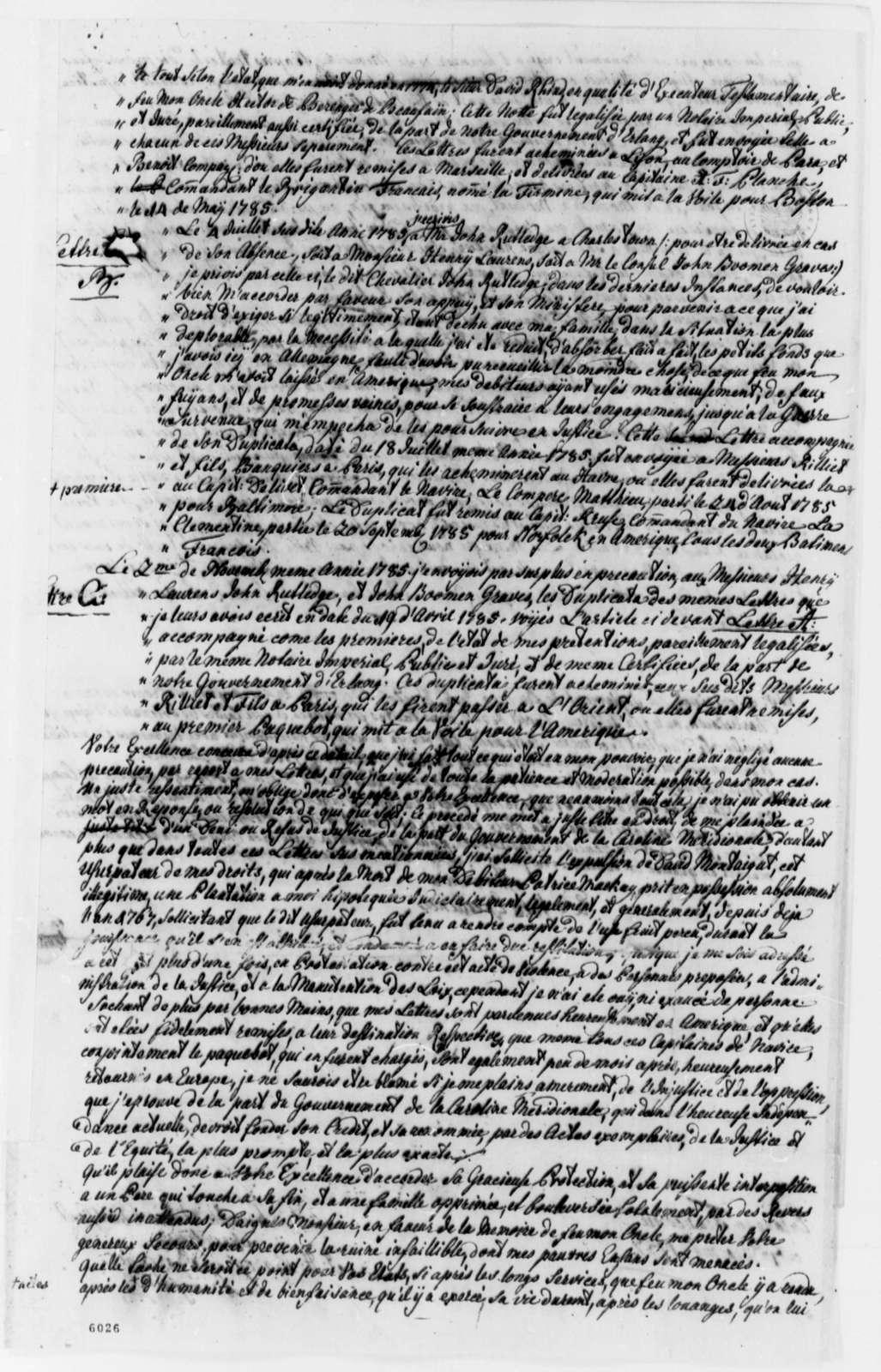 J. H., Baron de Berenger de Beaufain to Thomas Jefferson, December 7, 1787, Estate of Hector de Berenger de Beaufain in South Carolina, in French