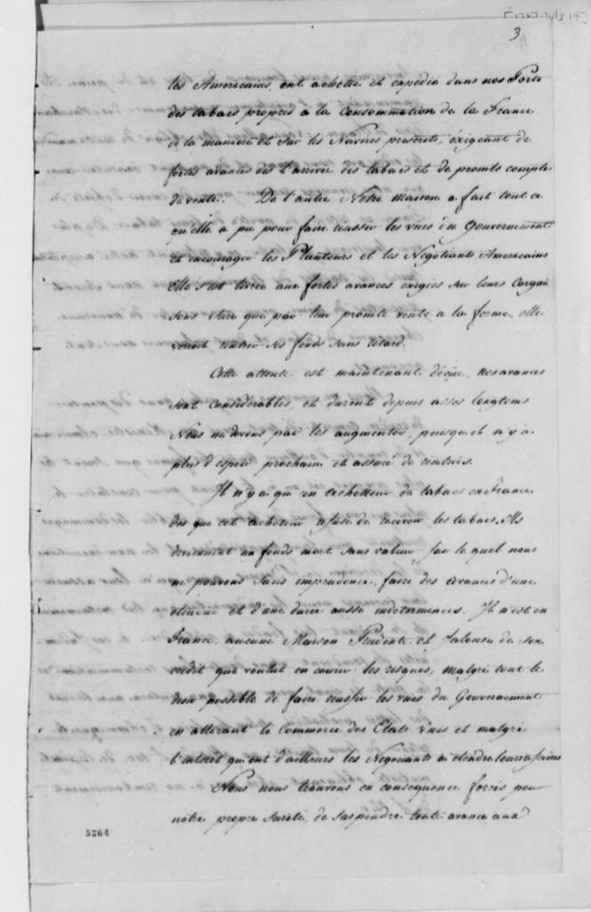 J. J. Berard & Company to Farmers General of France, July 14, 1787, Tobacco Trade with the United States; in French