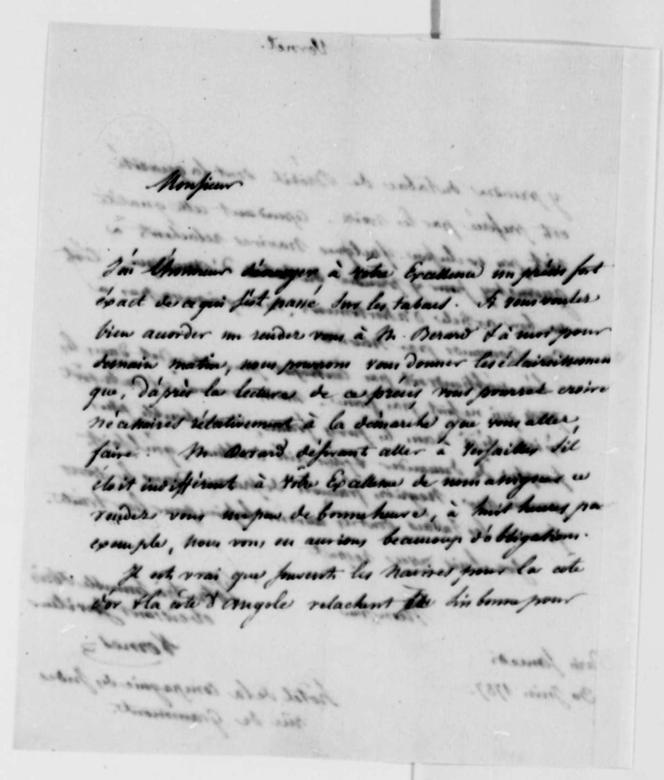 Jacob Vernes to Thomas Jefferson, June 30, 1787, in French