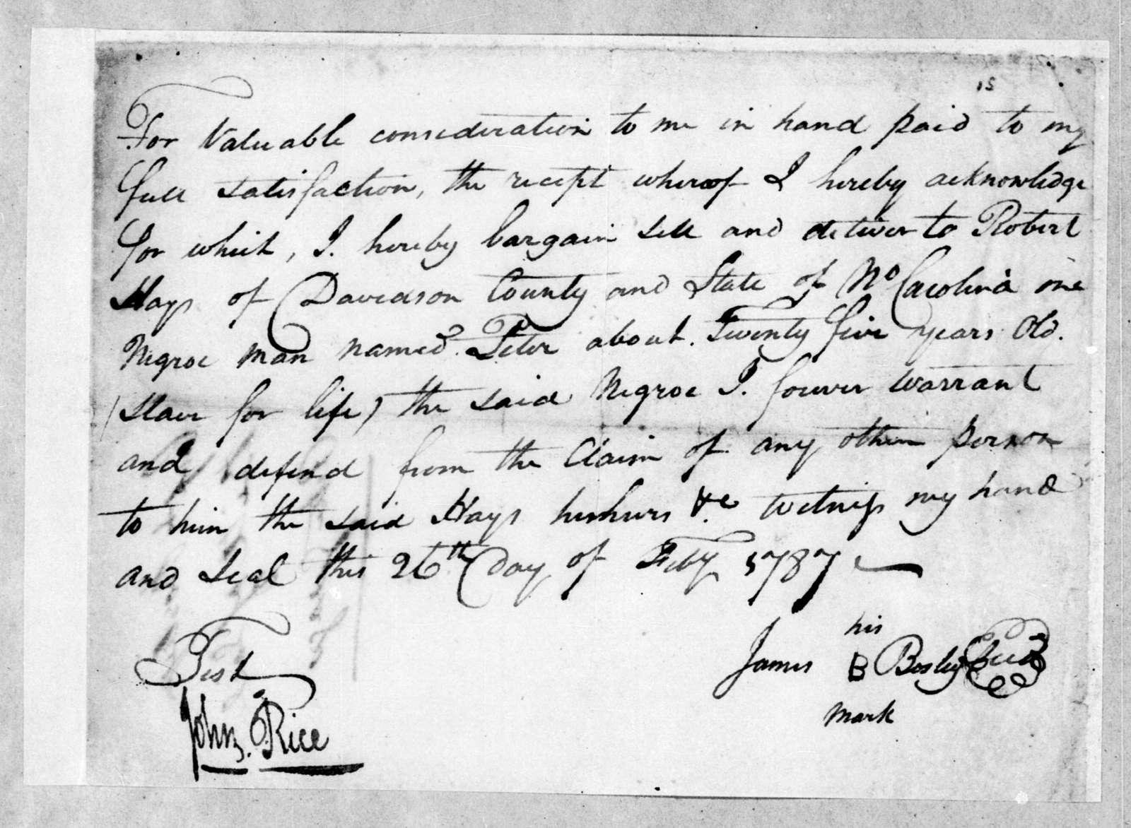 James Bosley to Robert Hays, February 26, 1787