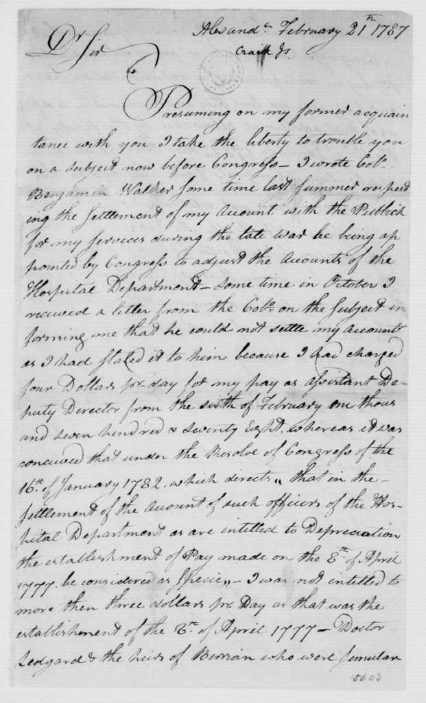 James Craik to James Madison, February 21, 1787.