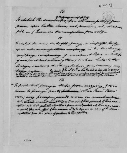 James Madison, 1787, Fragment of Document on Foreign Trade; Sent to Thomas Jefferson