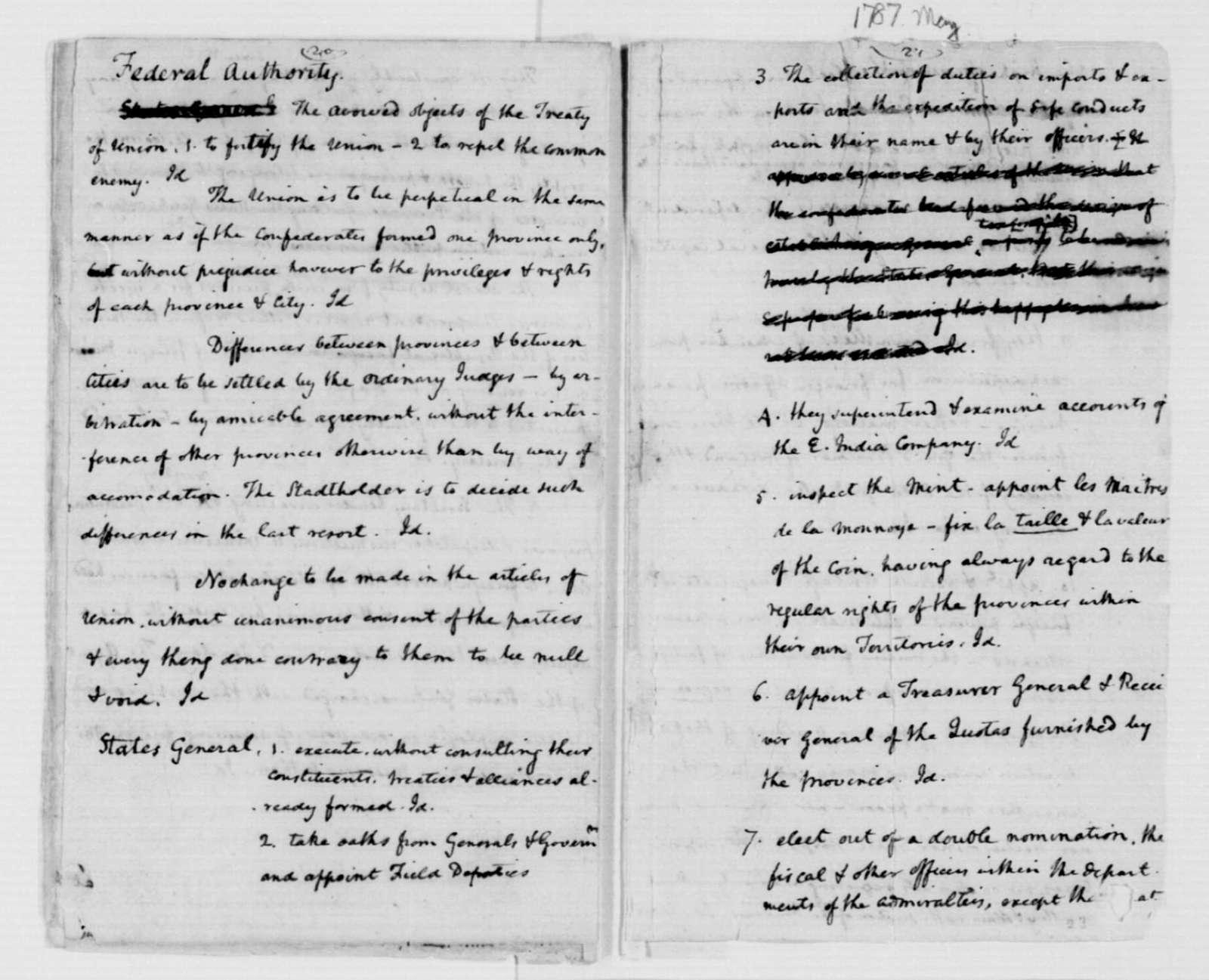 James Madison, May, 1787. Ancient & Modern Confederacies [April-June?].