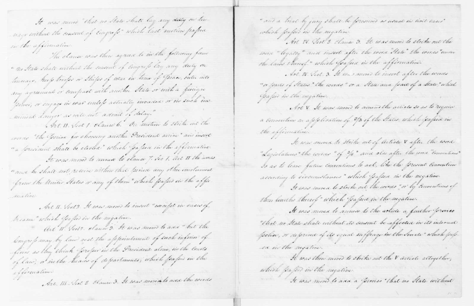 James Madison , September 15, 1787. Notes for John Adams for Completion of Journal of the Federal Convention.