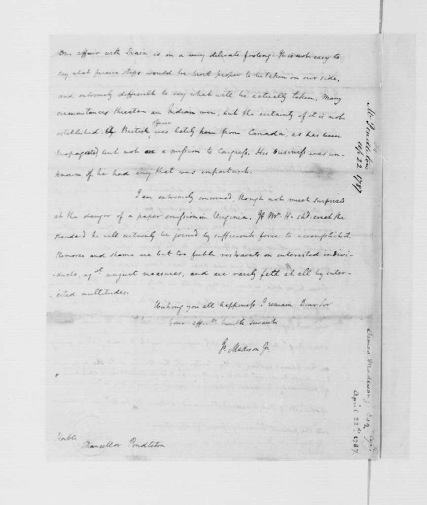 James Madison to Edmund Pendleton, April 22, 1787.
