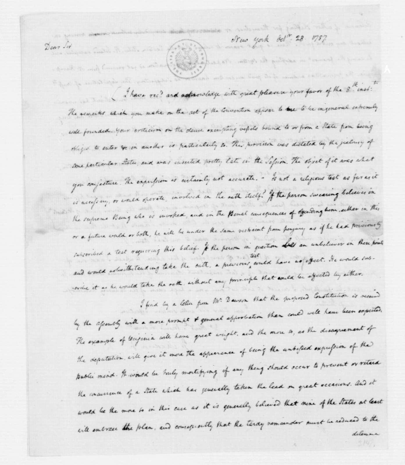 James Madison to Edmund Pendleton, October 28, 1787.