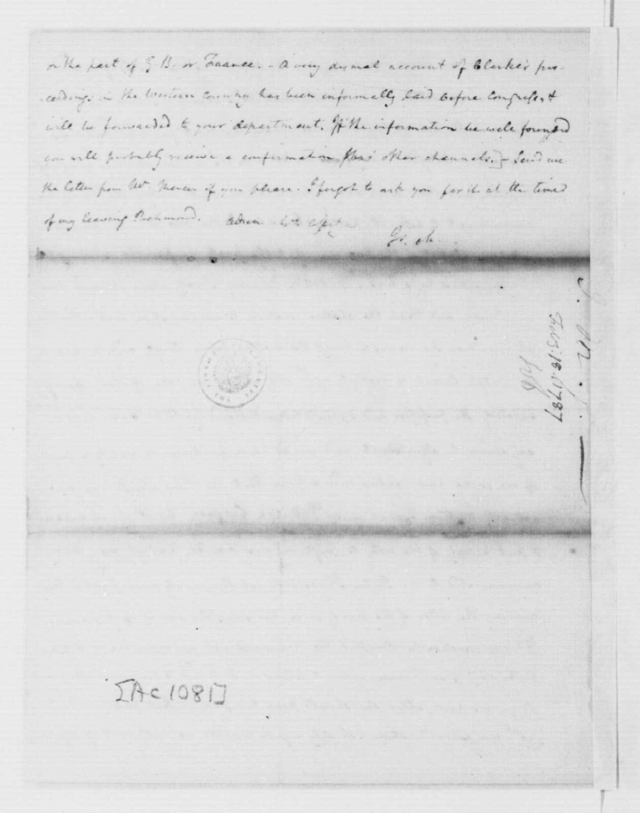 James Madison to Edmund Randolph, February 18, 1787.