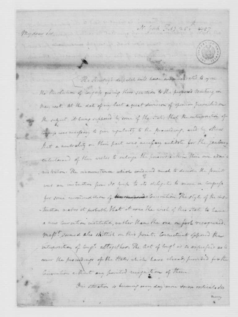 James Madison to Edmund Randolph, February 25, 1787.