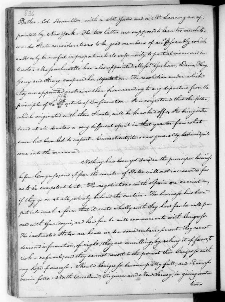 James Madison to Edmund Randolph, March 11, 1787.