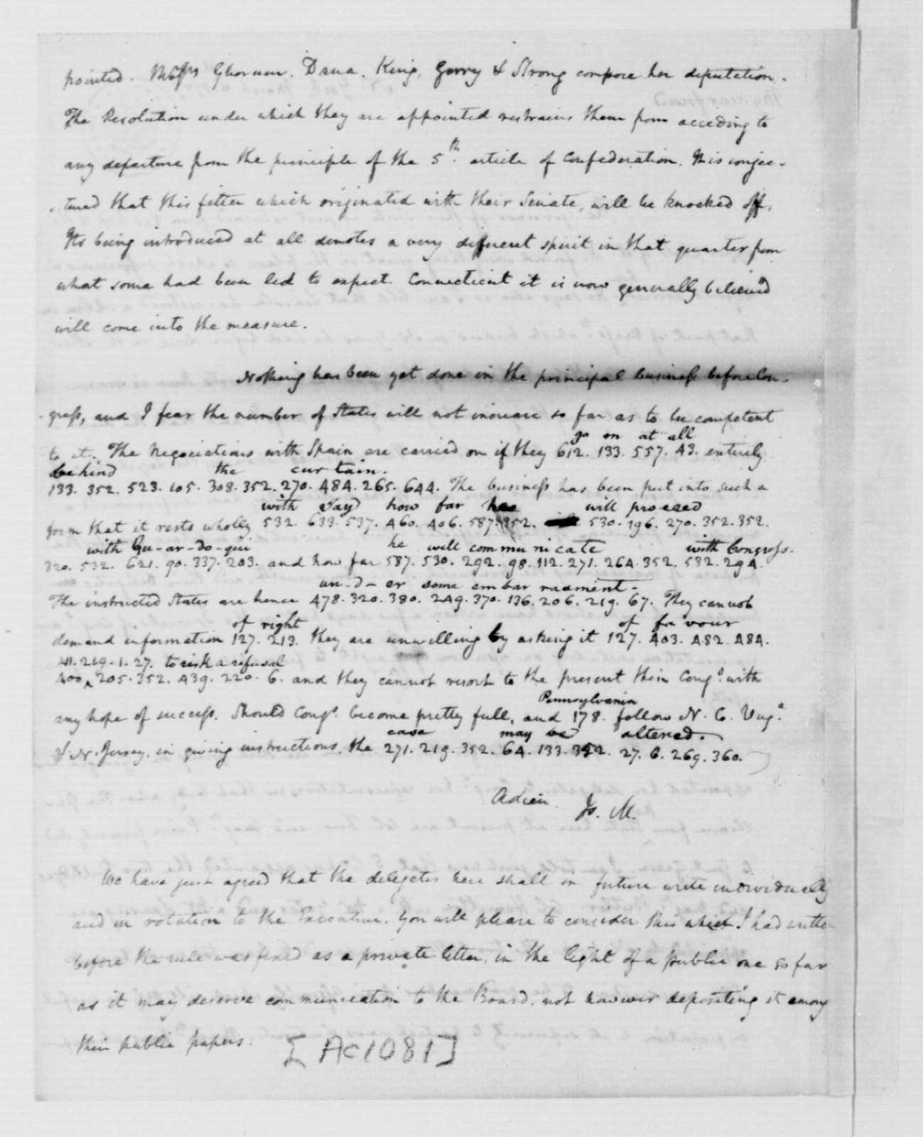 James Madison to Edmund Randolph, March 11, 1787. Partly in Cipher.