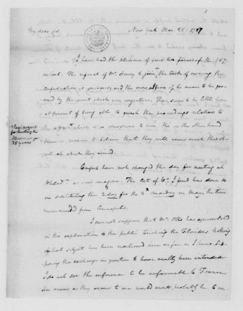 James Madison to Edmund Randolph, March 25, 1787.