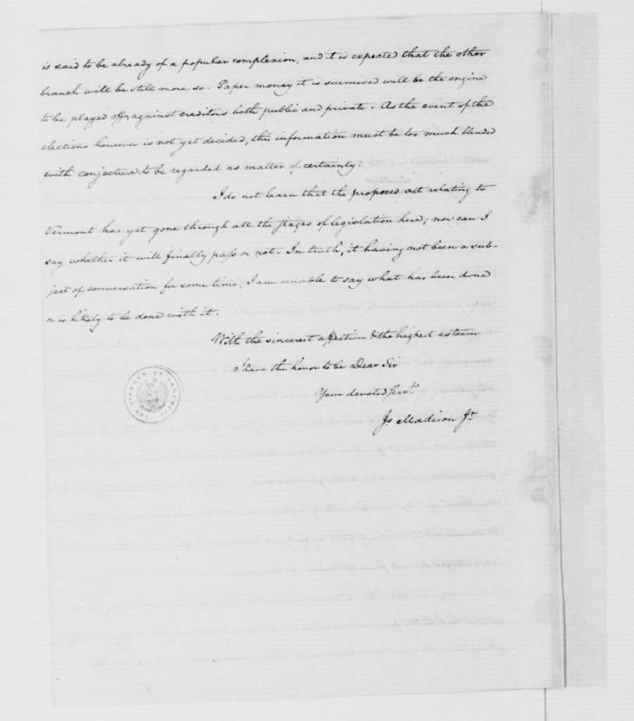 James Madison to George Washington, April 16, 1787.