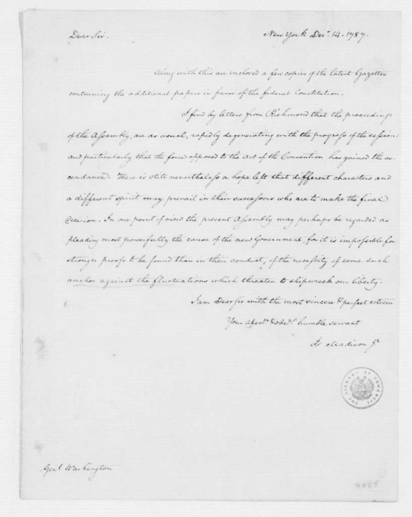 James Madison to George Washington, December 14, 1787.