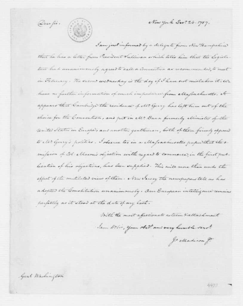 James Madison to George Washington, December 26, 1787.