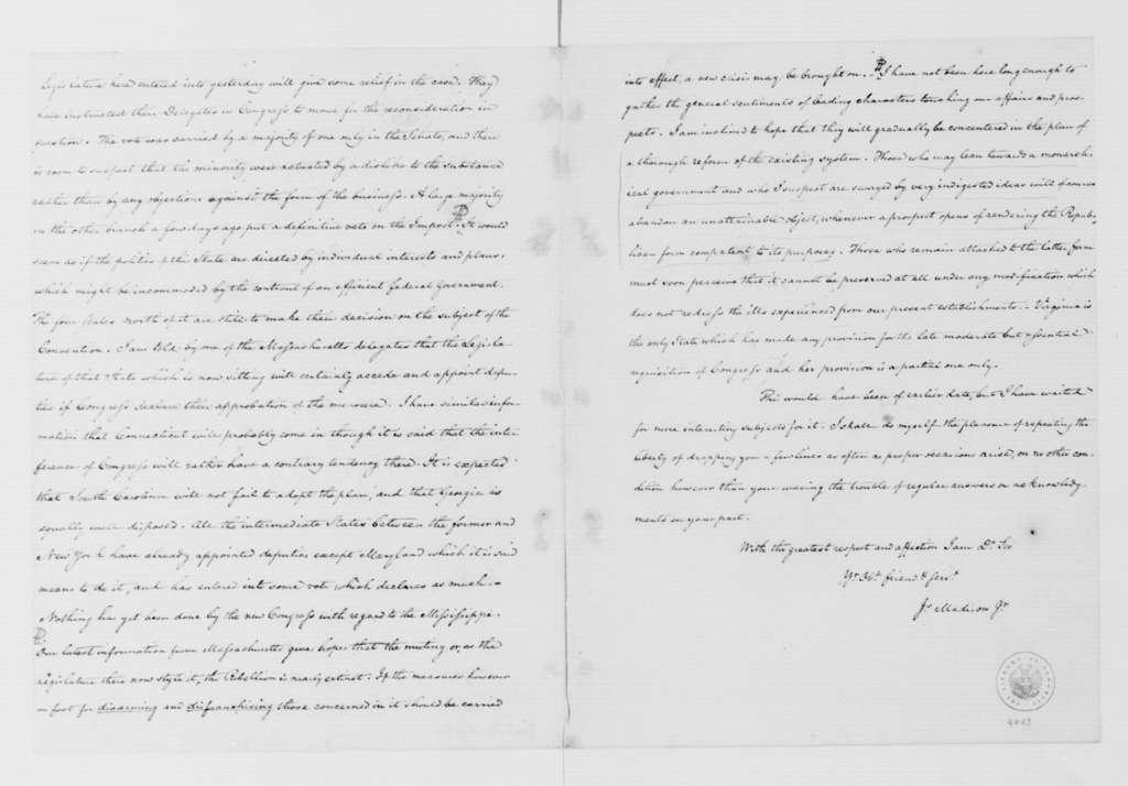 James Madison to George Washington, February 21, 1787.