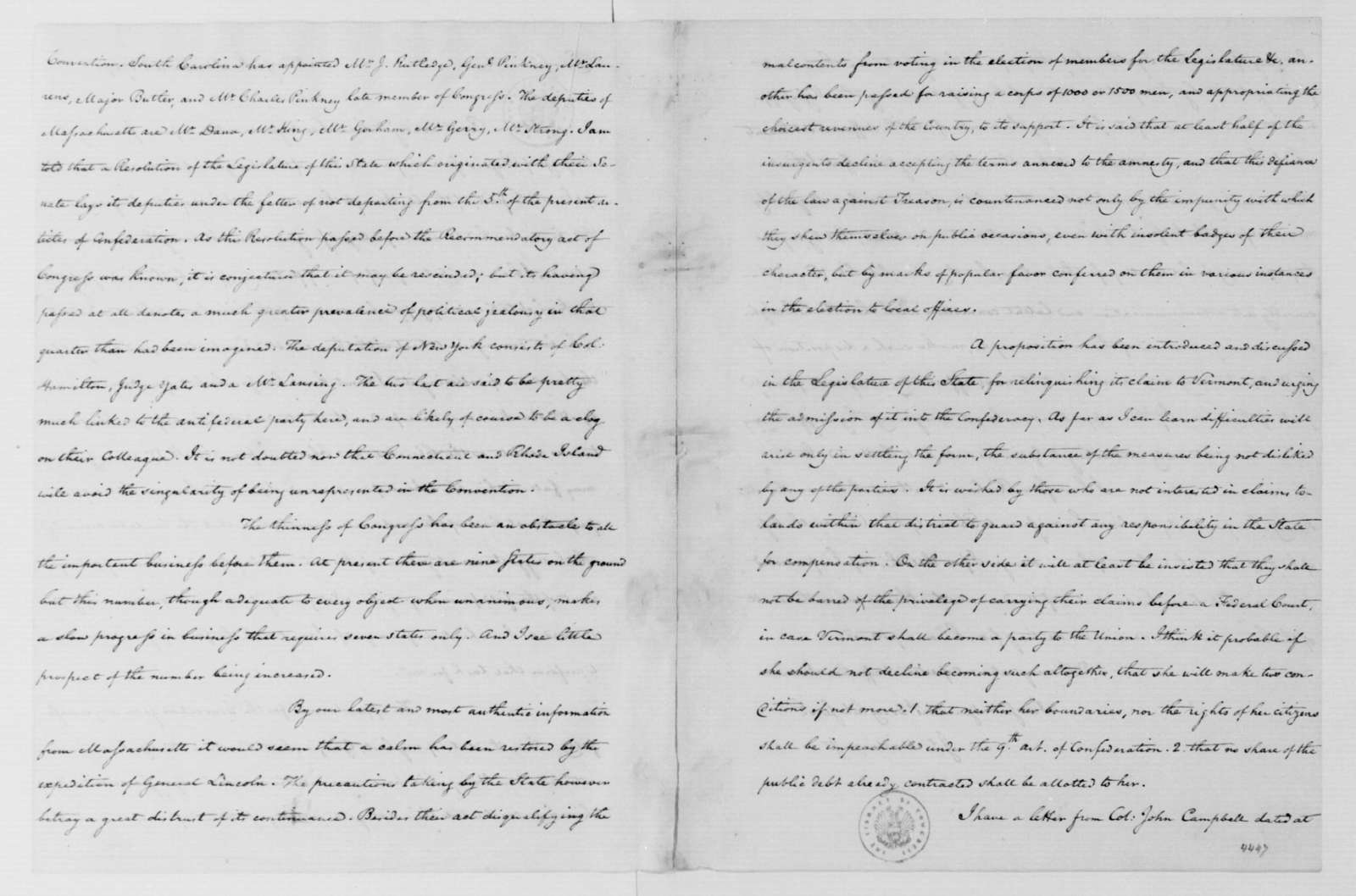 James Madison to George Washington, March 18, 1787.