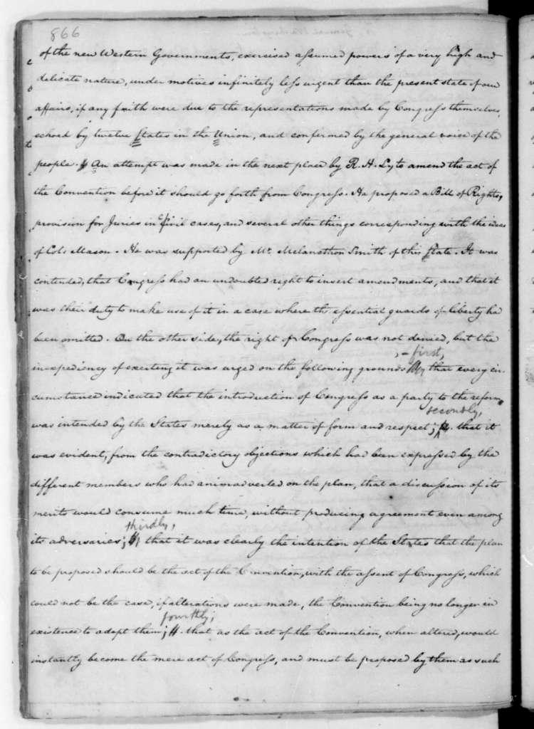 James Madison to George Washington, September 30, 1787.