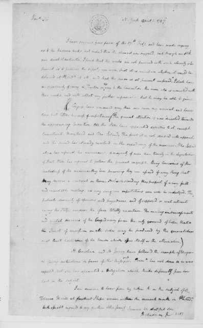 James Madison to James Madison Sr., April 1, 1787.
