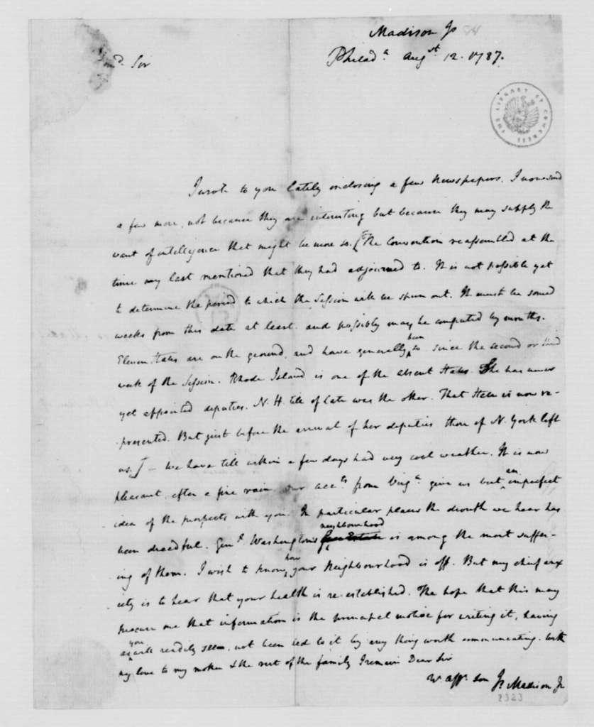 James Madison to James Madison Sr., August 15, 1787.