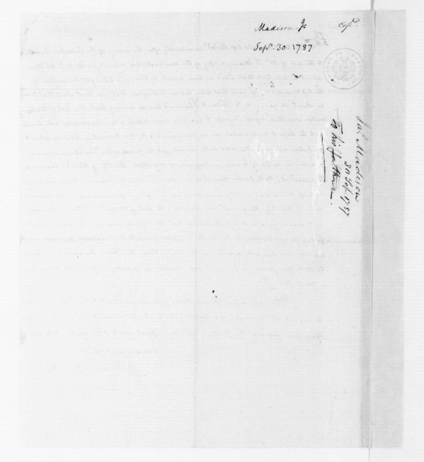 James Madison to James Madison Sr., September 30, 1787.