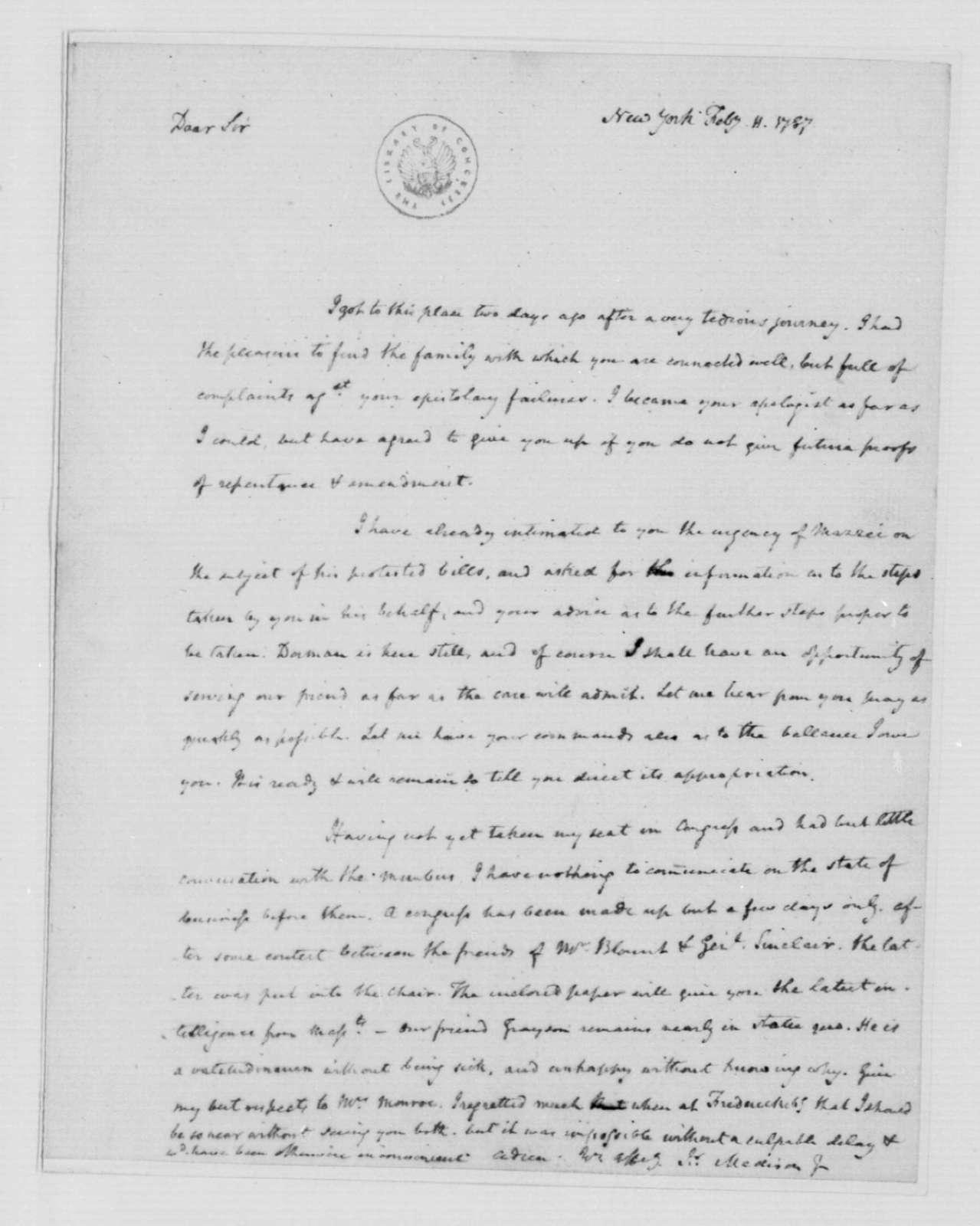 James Madison to James Monroe, February 11, 1787.