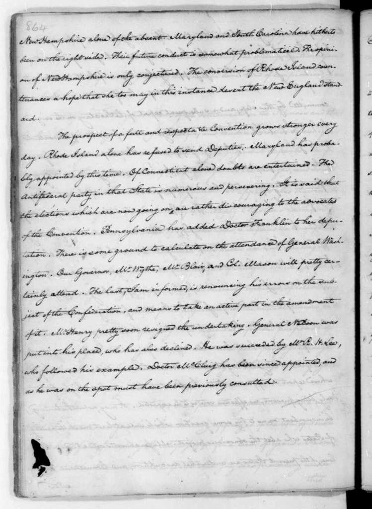 James Madison to Thomas Jefferson, April 23, 1787.