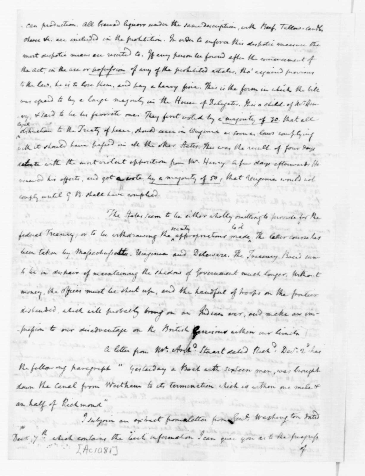 James Madison to Thomas Jefferson, December 20, 1787. Partly in Cipher.