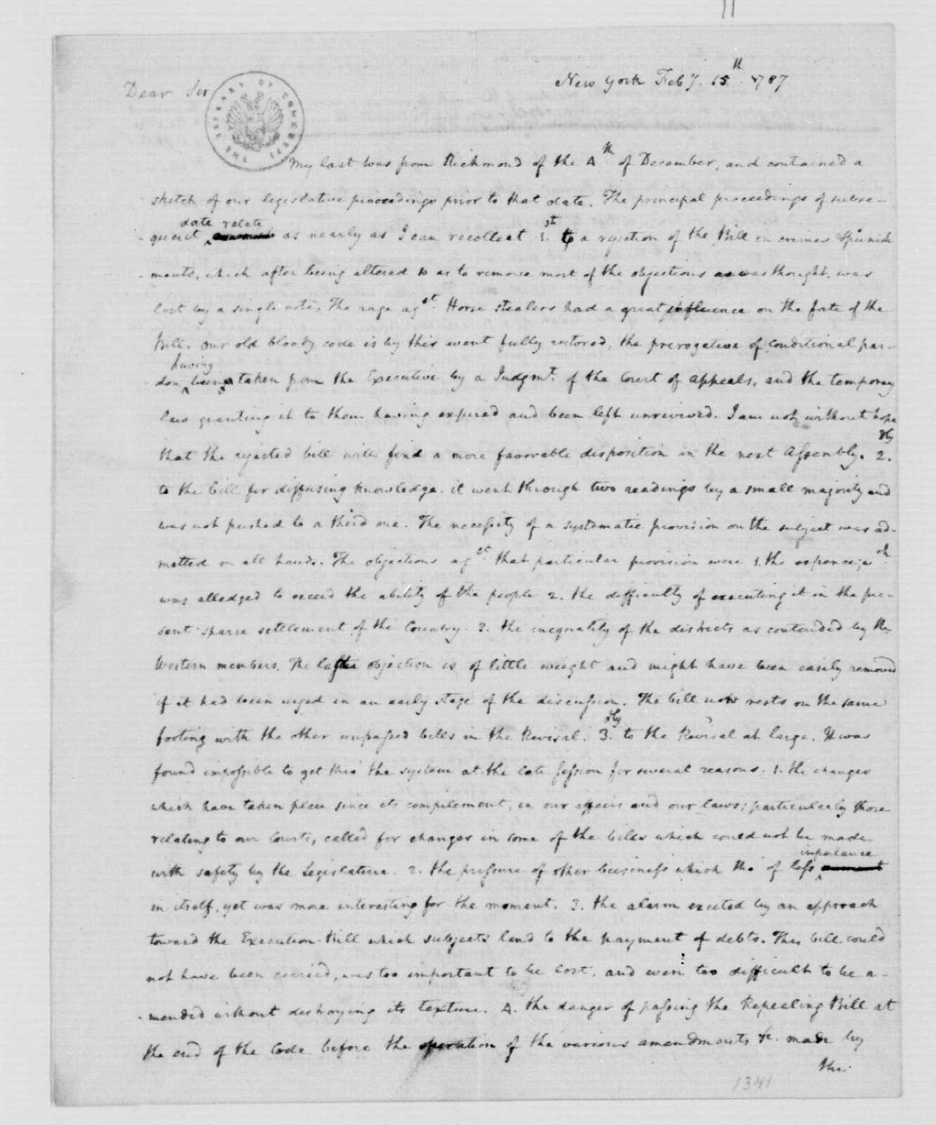 James Madison to Thomas Jefferson, February 15, 1787.