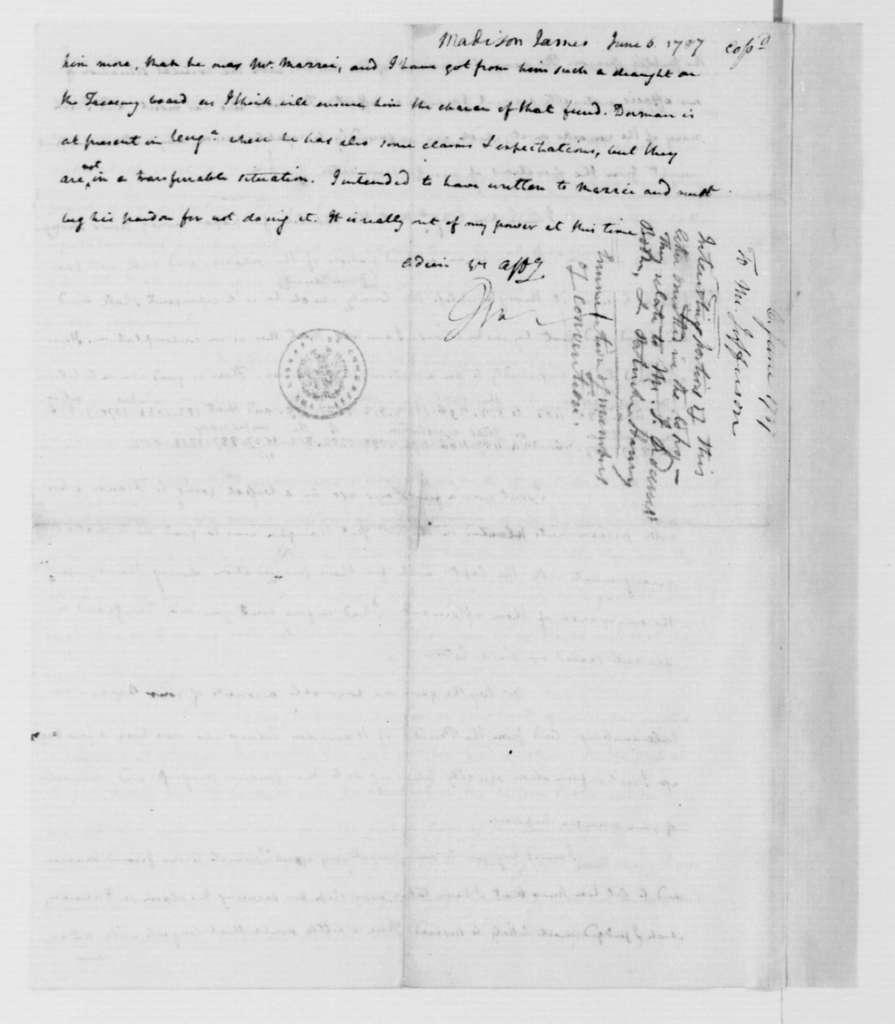 James Madison to Thomas Jefferson, June 7, 1787.