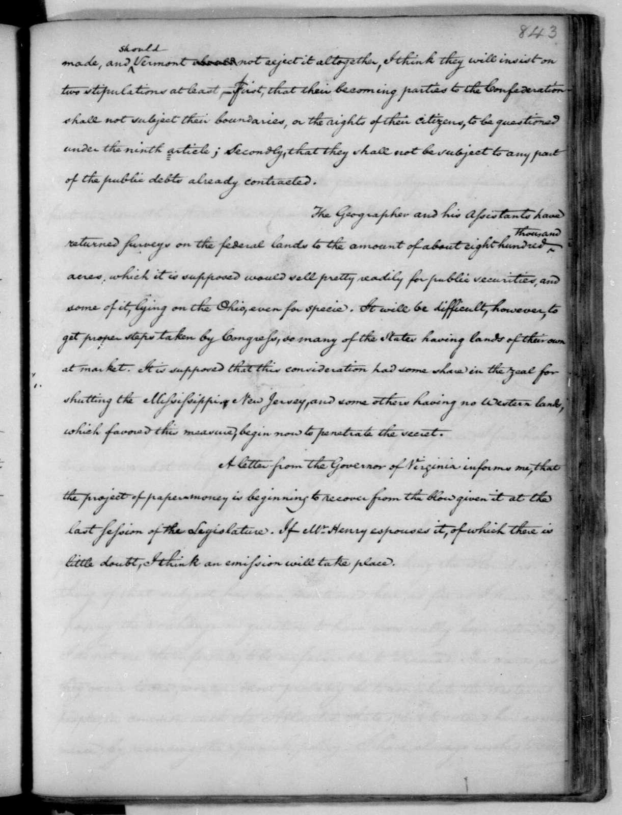 James Madison to Thomas Jefferson, March 19, 1787.
