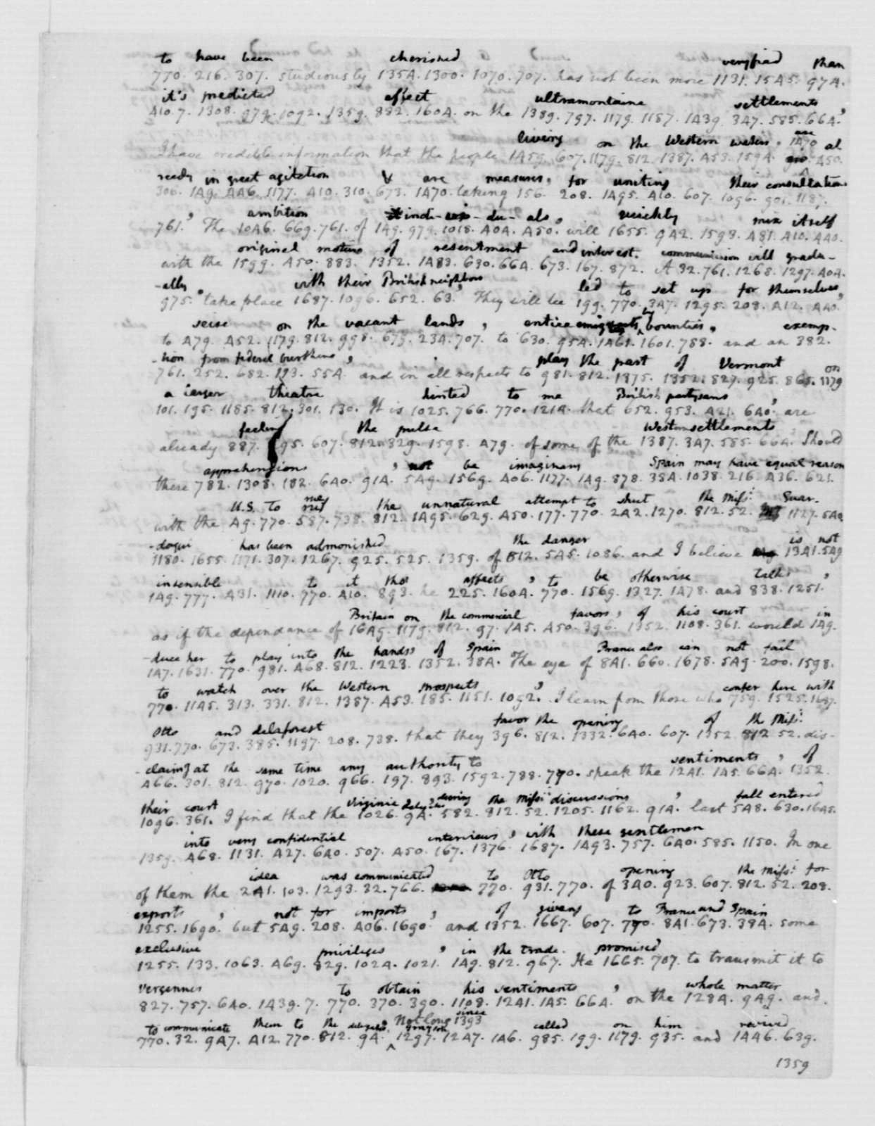James Madison to Thomas Jefferson, March 19, 1787. Partly in Cipher.