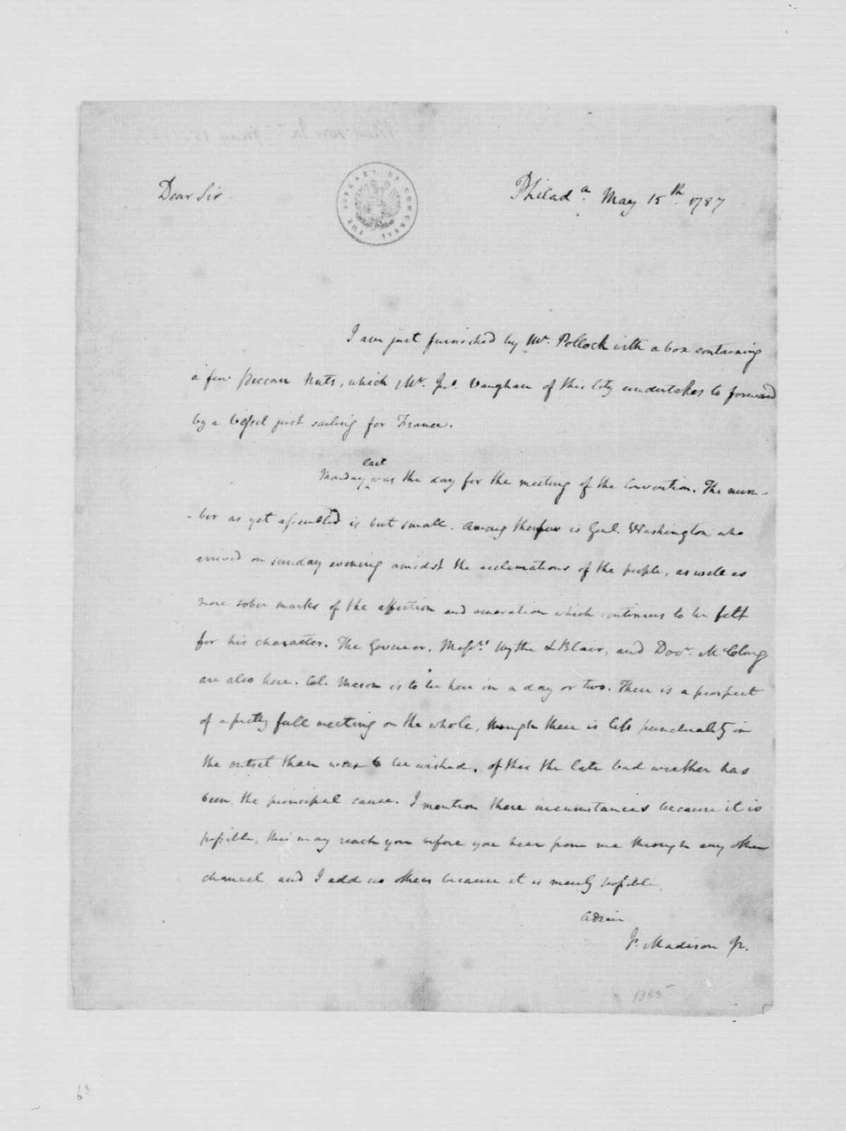 James Madison to Thomas Jefferson, May 12, 1787.