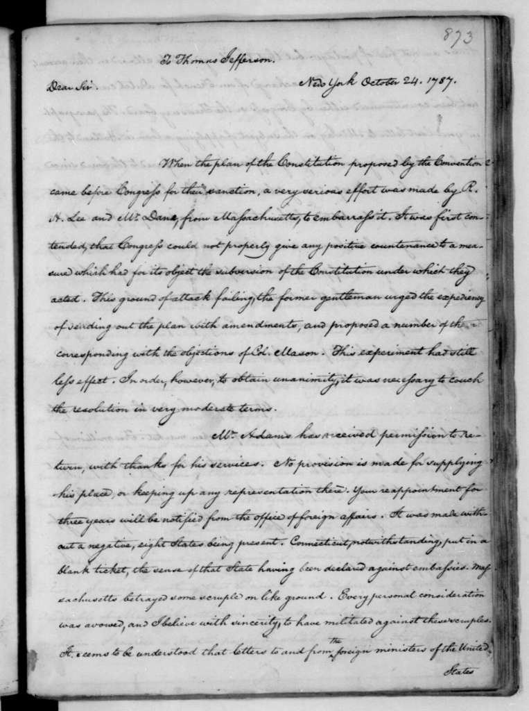 James Madison to Thomas Jefferson, October 24, 1787.