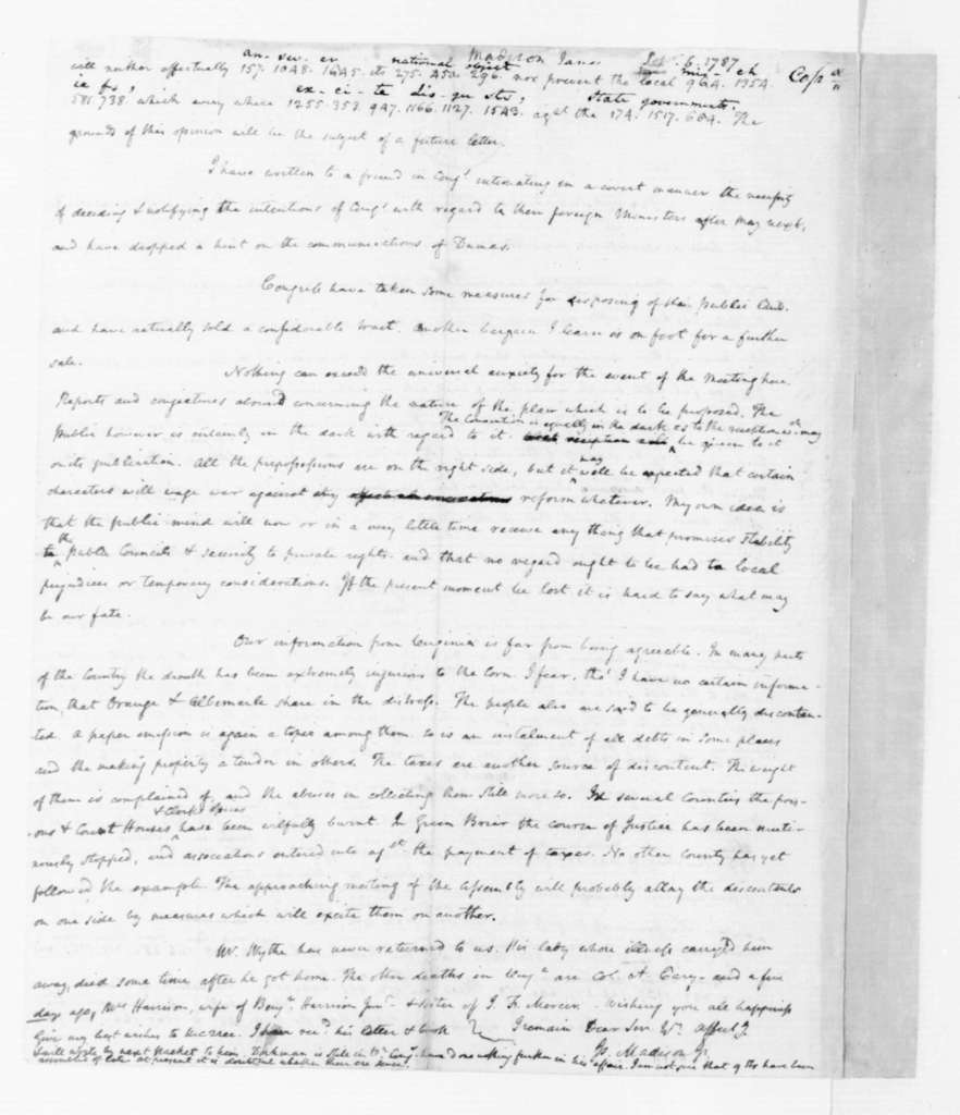 James Madison to Thomas Jefferson, September 6, 1787. Partly in Cipher.