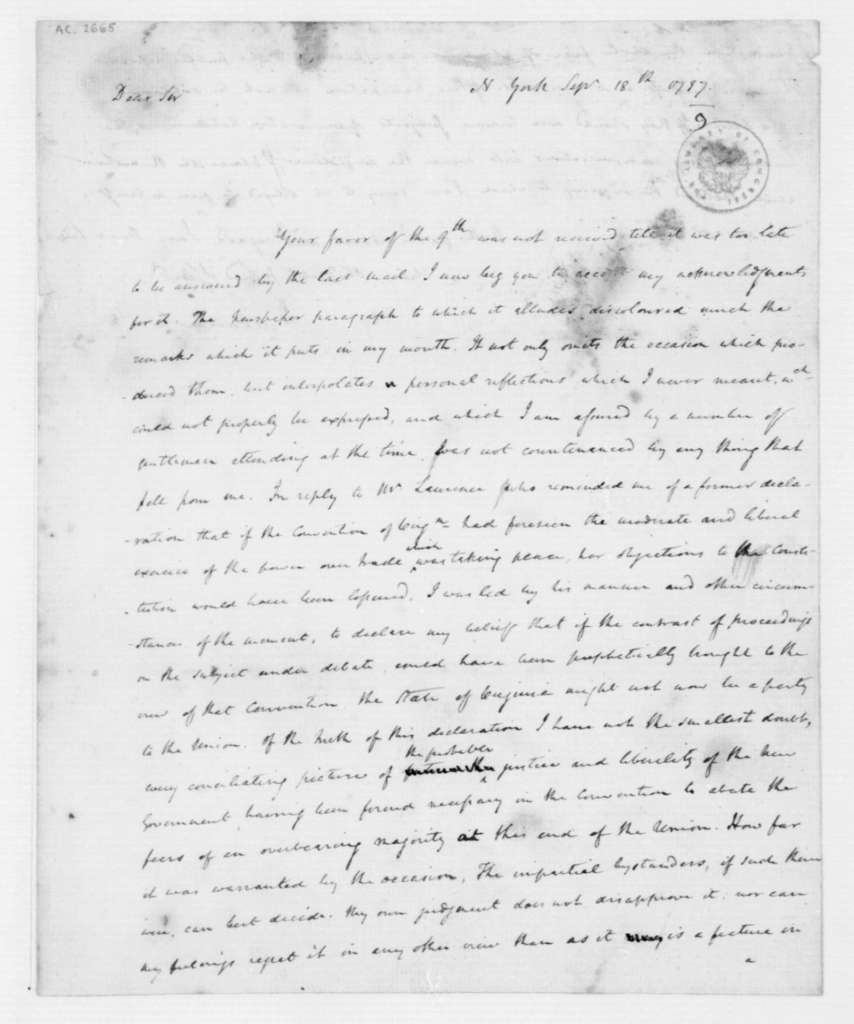 James Madison to Unknown, September 20, 1787.