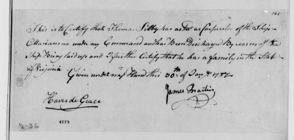 James Martin, January 30, 1787, Certificate of Thomas Silbey's Service as Carpenter Aboard the Marianne