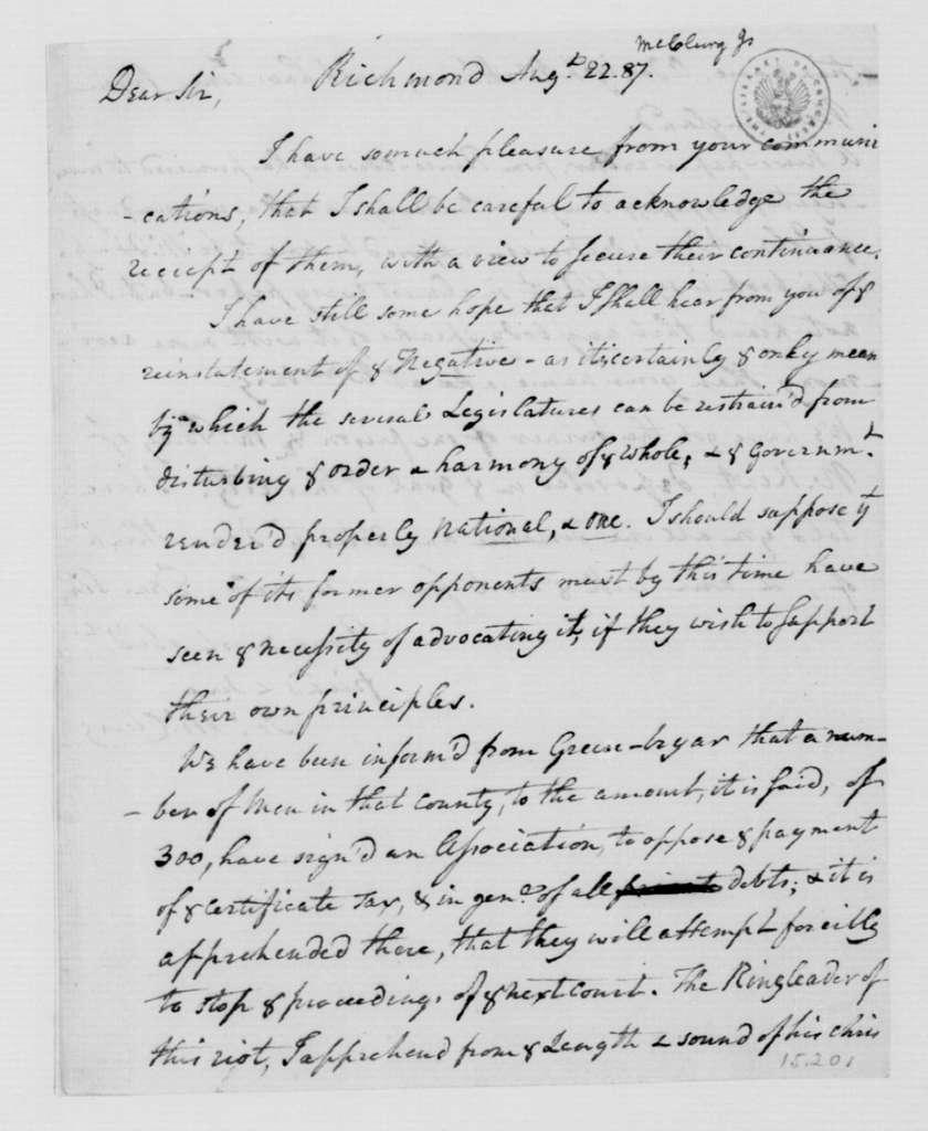 James McClurg to James Madison, August 22, 1787.