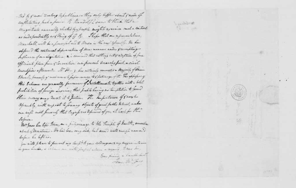 James McClurg to James Madison, August 5, 1787.
