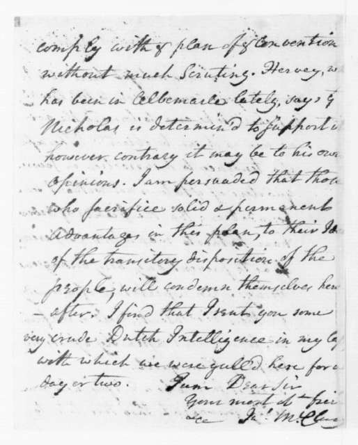 James McClurg to James Madison, September 10, 1787.