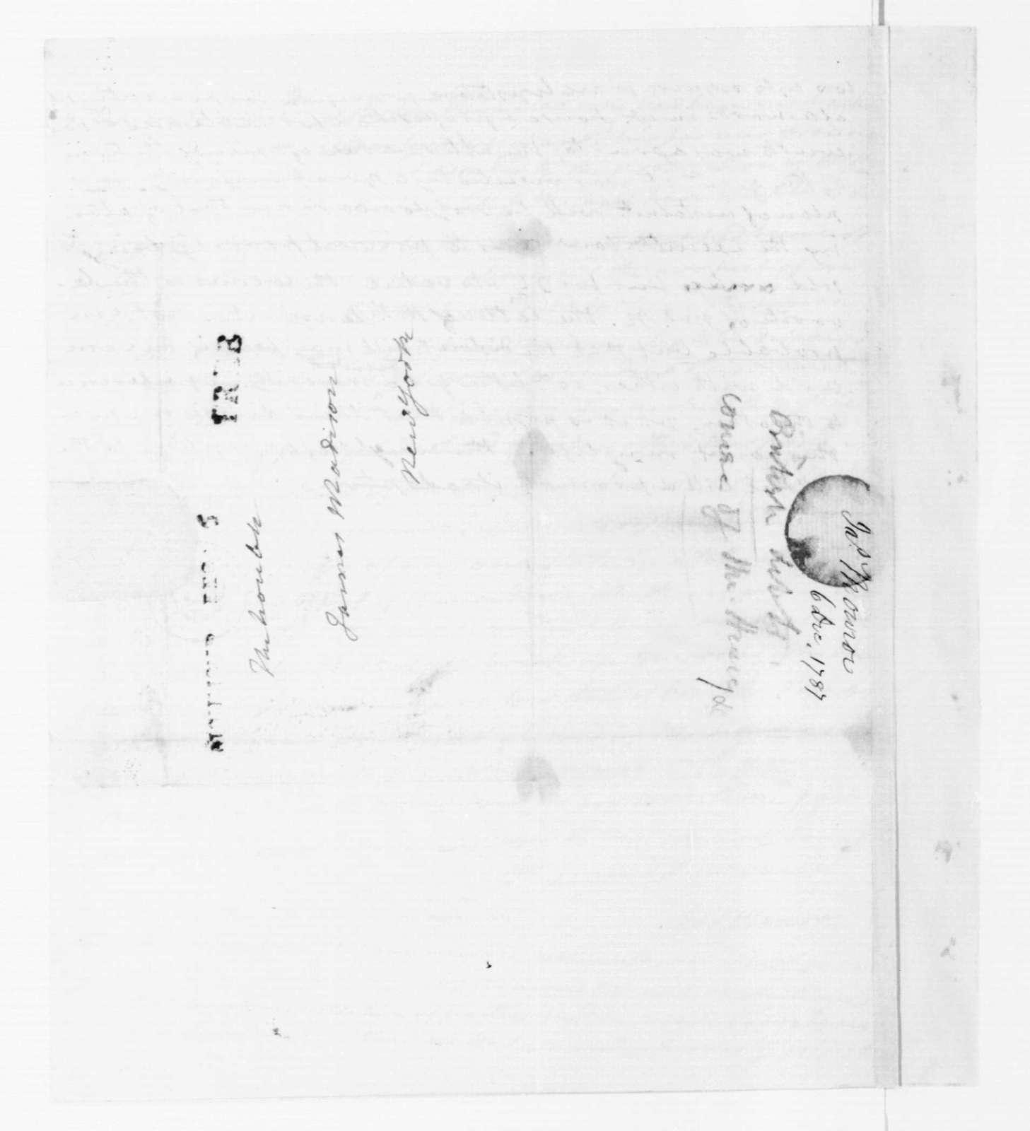 James Monroe to James Madison, December 6, 1787.