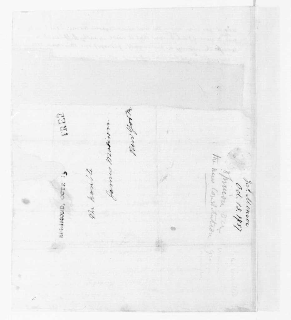 James Monroe to James Madison, October 13, 1787.
